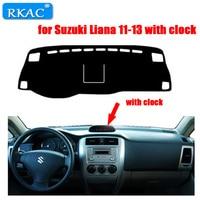 RKAC left hand drive Car Dashboard cover rug for Suzuki Liana 2011 2013 with clock Dust proof car dashboard mat accessories