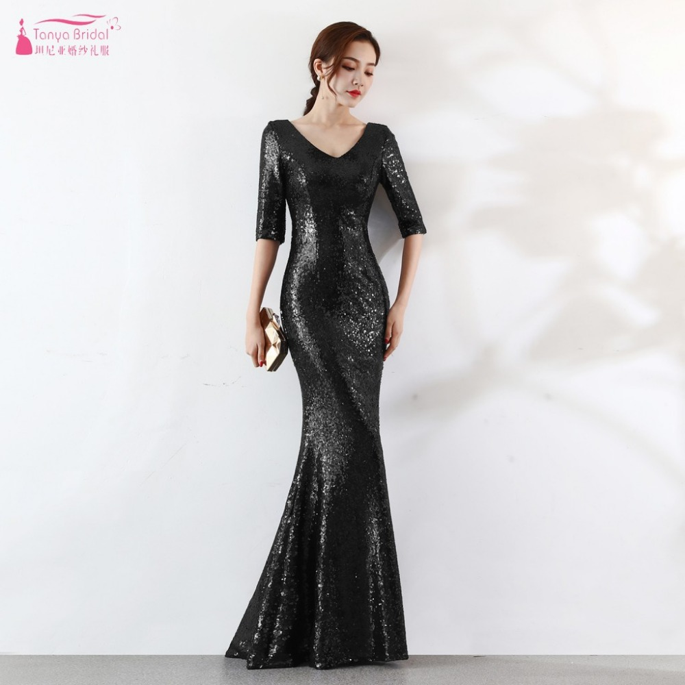 Black/Silver/Gold/Green/Navy Sequined   Bridesmaid     Dresses   Mermaid Half Sleeve Long Maid Of Honor Real Formal Night wear ZB094