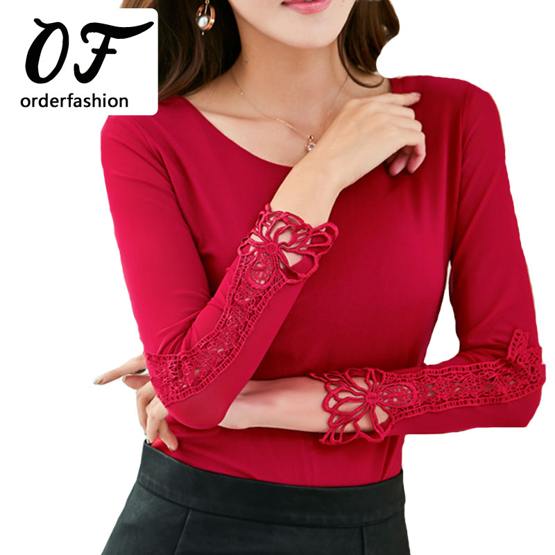 women lace blouse femme tops crochet shirt autumn 2017 fashion long sleeve red blouse shirt. Black Bedroom Furniture Sets. Home Design Ideas