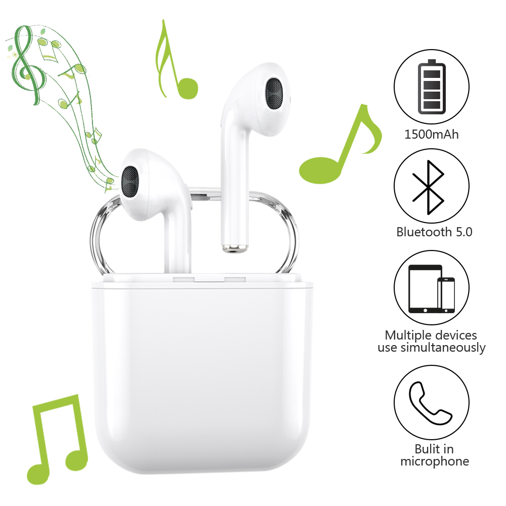 Wireless Earbuds, GUSGU True Wireless Bluetooth Earbuds 5.0 TWS In-Ear Sports Wireless Earphones Built-in Mic 1500mAh Battery