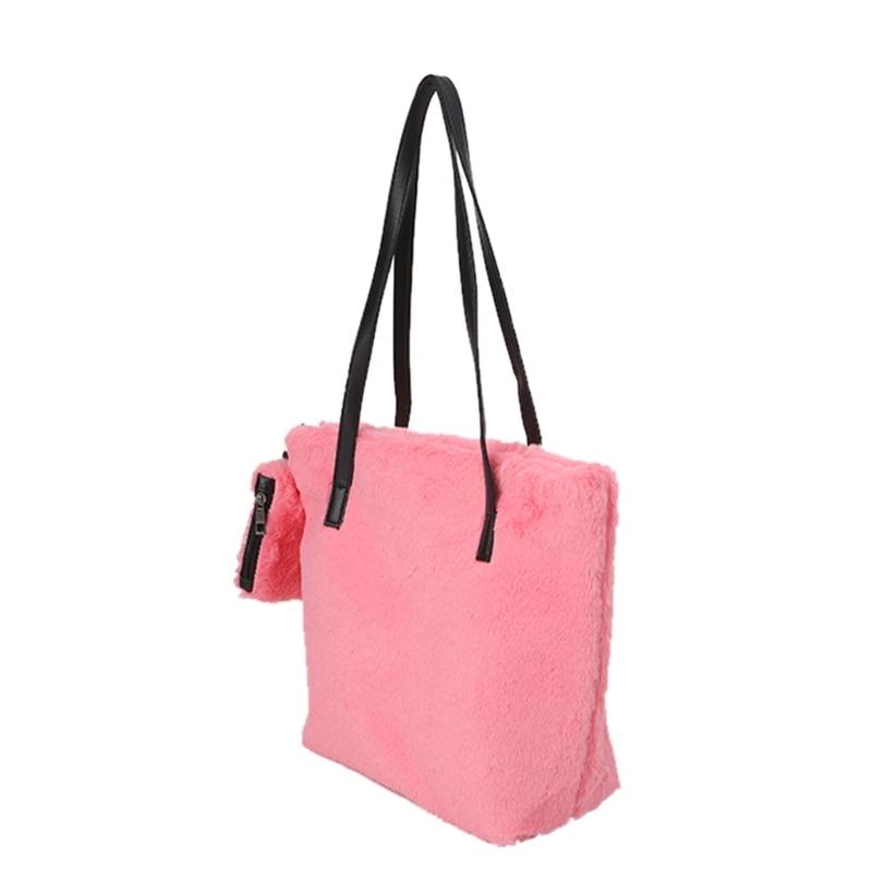 THINKTHENDO New Women Faux Fur Handbag Shoulder Bag Handbags Plush Pounch With Wristlet Purse