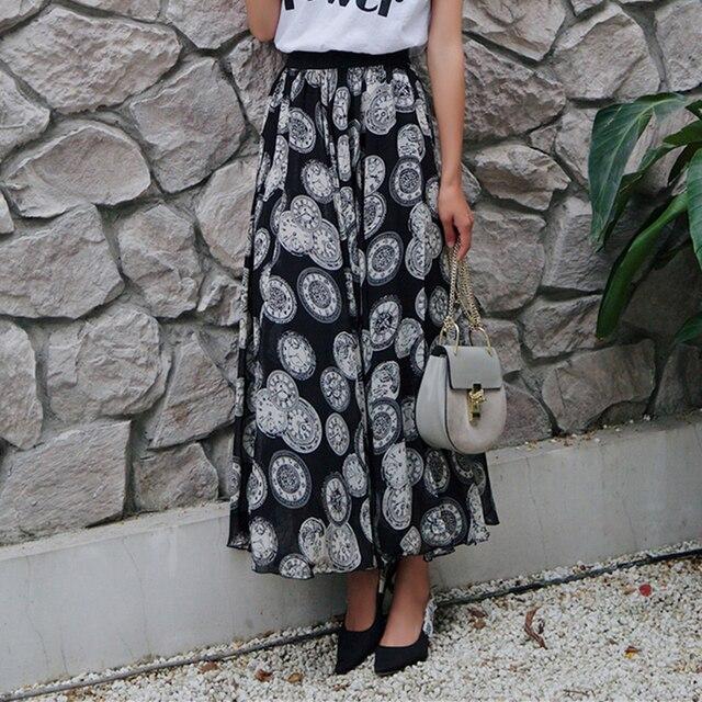 527088155fc 50% скидка 2018 лето плюс длинные печати Шифоновая юбка женские ботильоны  Длина мода эластичный пояс