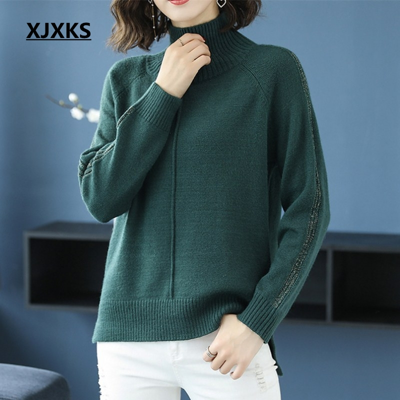 XJXKS wool and cashmere sweater women high elasticity female turtleneck jumper warm comfortable knit woman pullover sweaters