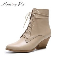 Krazing Pot 2018 Cow Leather European Designer Lace Up High Heels Keep Warm Winter Boots Streetwear