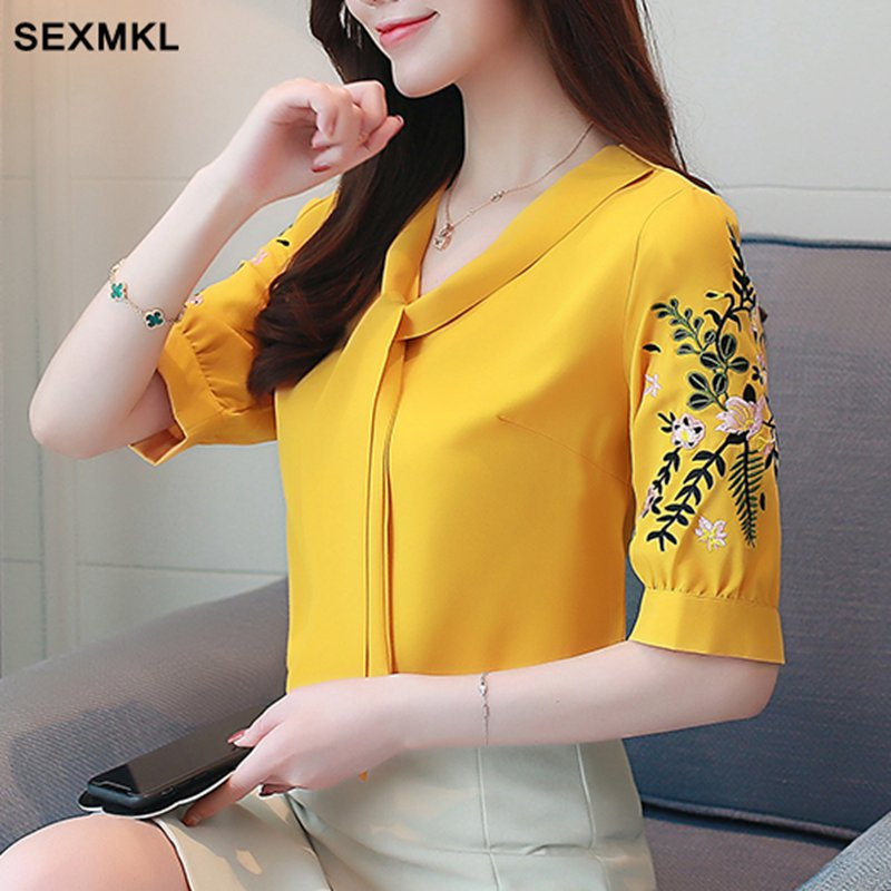 SEXMKL 2018 Embroidery Office Blouses Shirts Women BlouseCamisas Femininas Ladies White Black Shirt Summer Tops Plus Size XXL