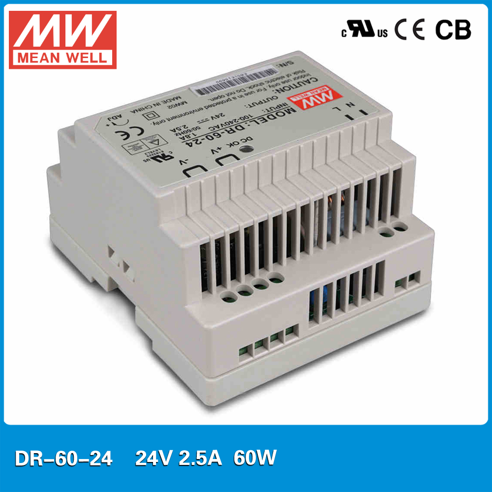 цена на Original MEAN WELL DR-60-24 Single Output 2.5A 24V 60W DIN rail mounted Meanwell power supply 88-264VAC input