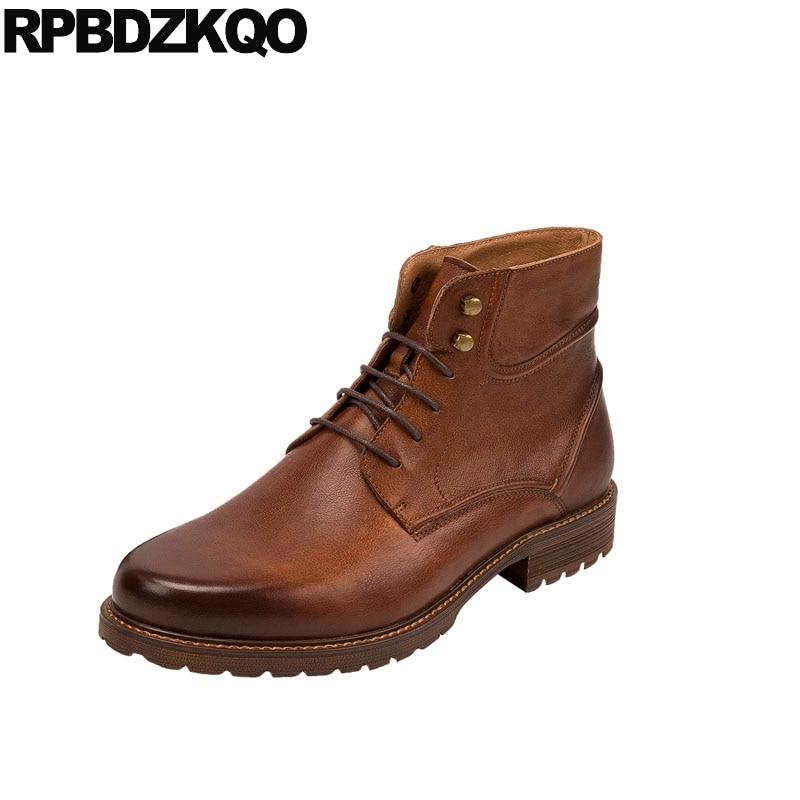 цены на full grain leather lace up footwear party designer shoes men high quality dress fall ankle plus size formal oxford brown boots в интернет-магазинах