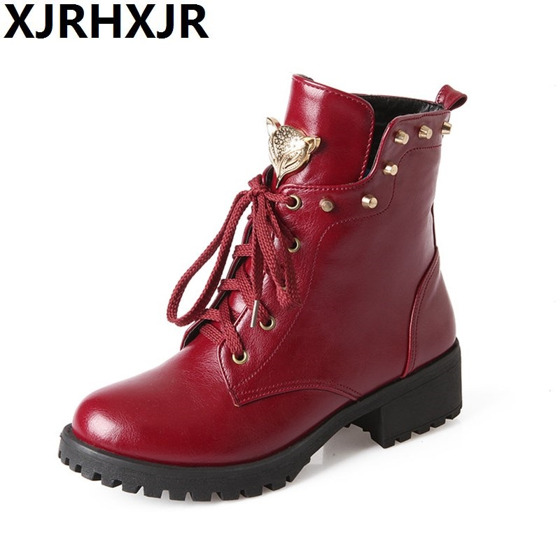 2017 Brand Martin Boots 4cm High Heels Fashion Rivets Lace Up Ankle Boots Women Shoes Thick Heel Platform Short Boots Size 30-49 mcckle women s lace up rivets buckle ankle martin boots ladies fashion thick heel platform high quality leather autumn shoes