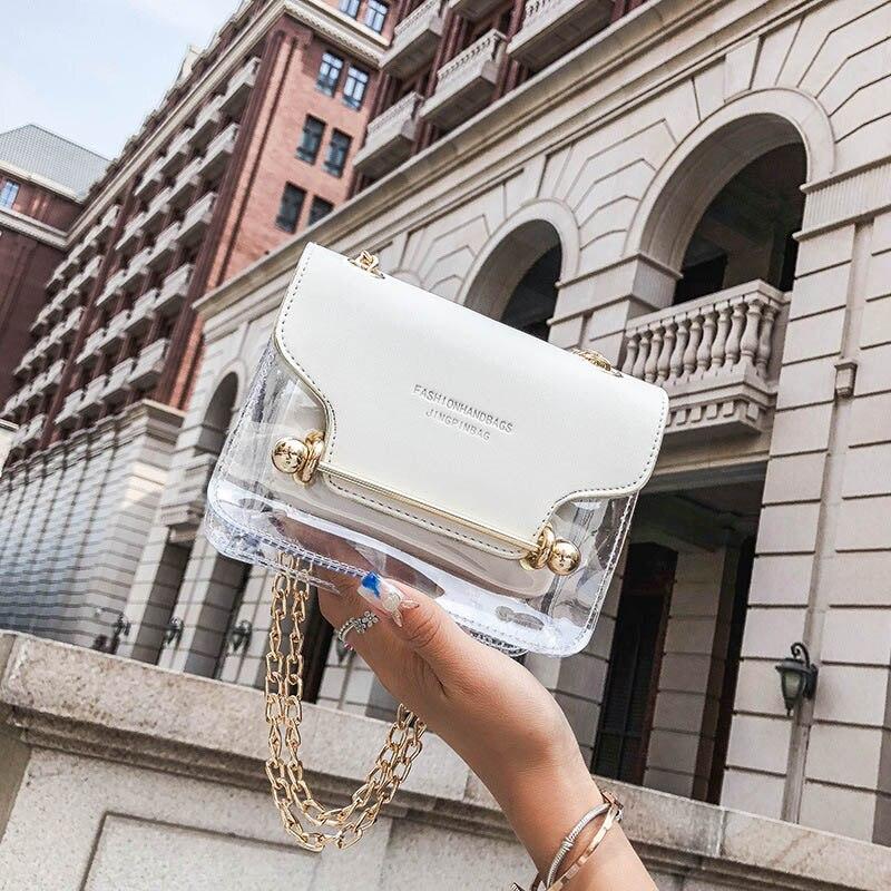 Crossbody Clear Bag Jelly Transparent Women Brand Design Small Square Shoulder Bag Transparent Composite Messenger Bags Handbags
