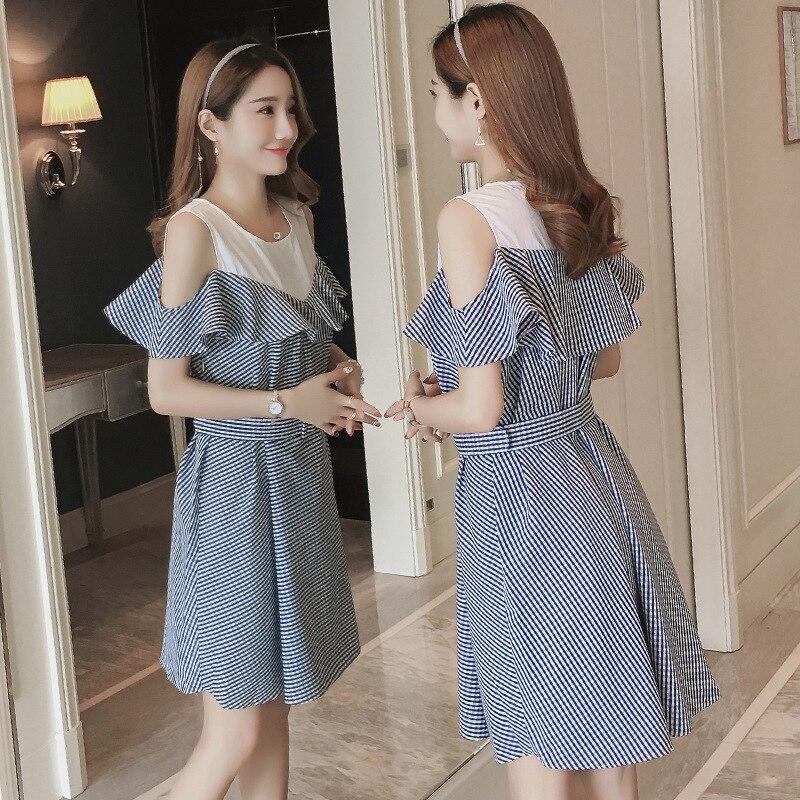 Maternity Clothes 2018 Summer New Korean Style Strapless Breastfeeding Dress Slim Nursing Dresses for Preganant women