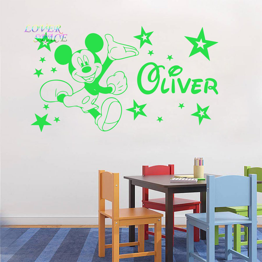 Mickey Mouse Wall Sticker Personalised Name Vinyl Stickers Star