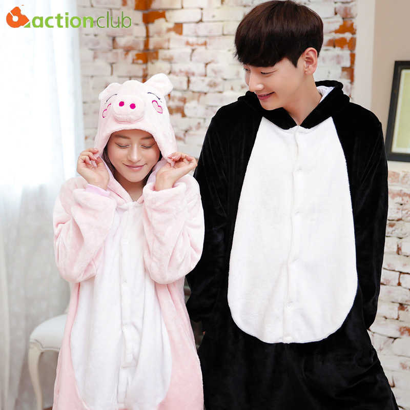 Actionclub свинья Onesie Пижама для взрослых фланелевые костюмы милые аниме животное  пижамы комбинезон мультфильм Косплэй 7529eb3371be8