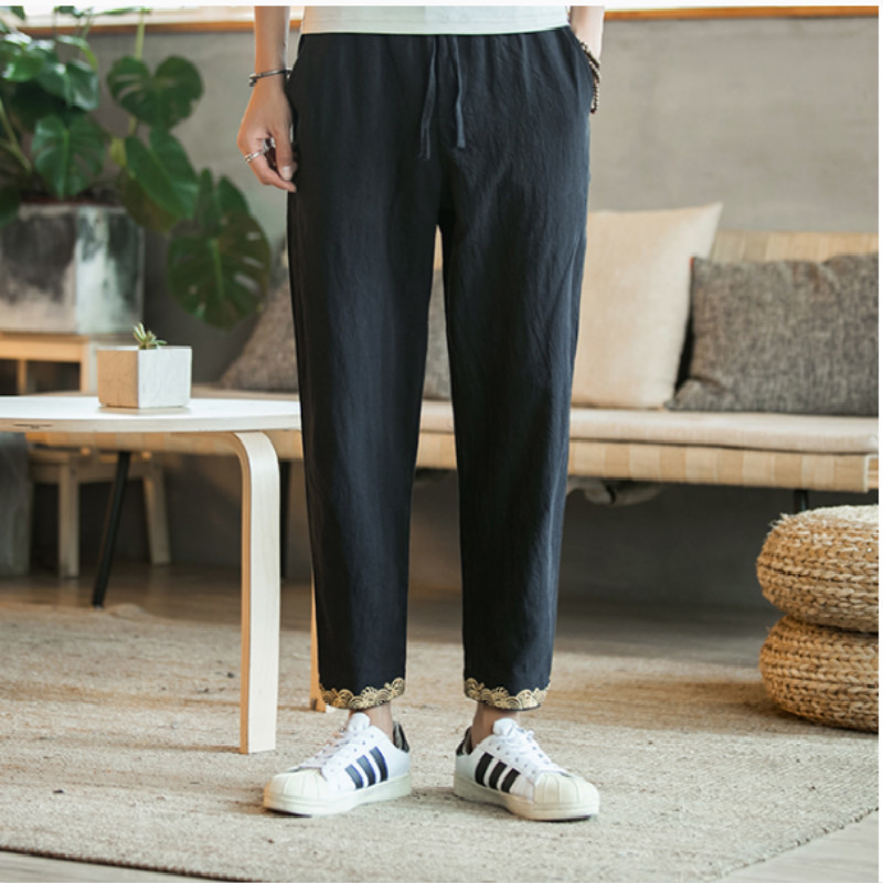 2018 casual Flax Embroidery Nine Part Pants Lowest The new listing Favourite Fashion Free shipping black white and green