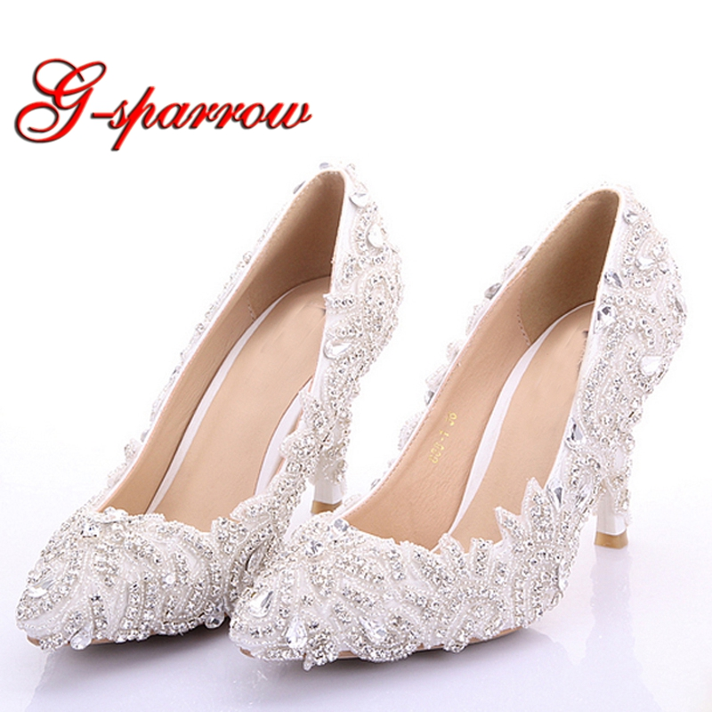 Rhinestone Formal Dress Shoes High Heel Thin Heel Bride Shoes Pointed Toe Wedding Party Shoes Beautiful Girl Adult Ceremony Shoe