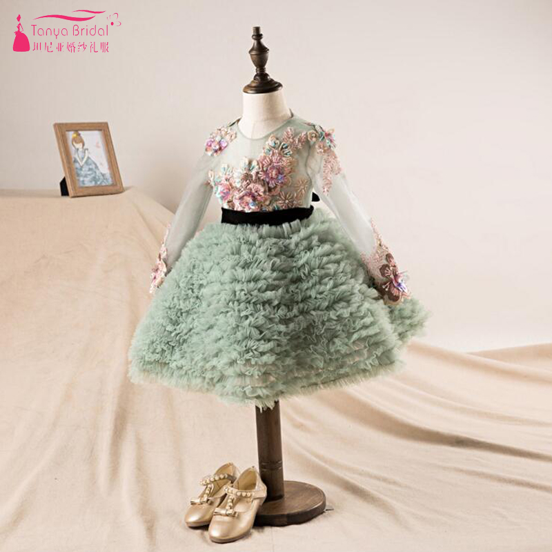 Dusty Green Long Sleeve   Flower     Girls     Dresses   Knee Length Gorgeous Embroidery Kids communion   dresses   vestido daminha 2018 ZF081