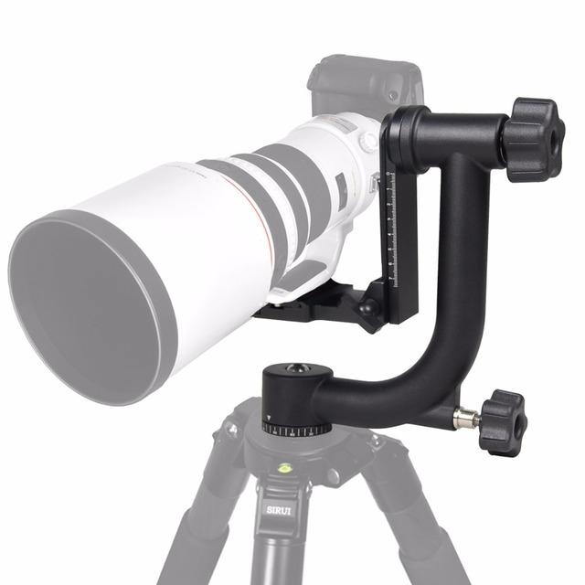 New Professional Alumínio Gimbal Tripé Cabeça Para DSLR Lente de Telefoto Pesados 360 Câmera Panorâmica Tripé Cabeça Giratória até 10 KG