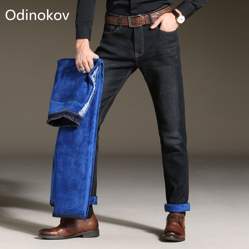 Odinokov Brand Fit -10 Men Winter Thicken Stretch Denim Jeans Warm Blue Thick Fleece Jean Stretch Pants Trousers Size Plus Size new arrival winter fleece warm jeans high quality men blue denim plus size pants thicken jean slim trousers 100607