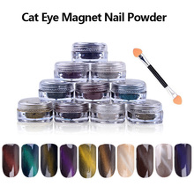 New 1g/box 3D Effect Cat Eye Magnet Powder Dust UV Gel Polish Environmental Magic Mirror Nail Art Glitter Pigment DIY Nail Tools