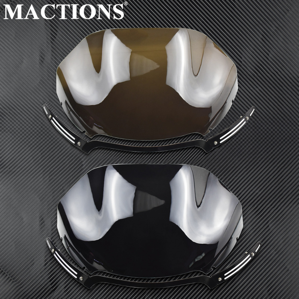 Motorcycle 13 5 Windshield Windscreen Windshield Trim Black Smoke For Harley Road Glide FLTR FLTRX 2015