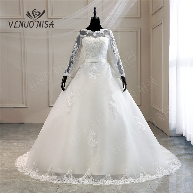 Ball Gowns Sweetheart White Ivory Tulle Full Wedding Dresses 2019 with Long 100 cm Train Bridal Dress Marriage Made Size 6