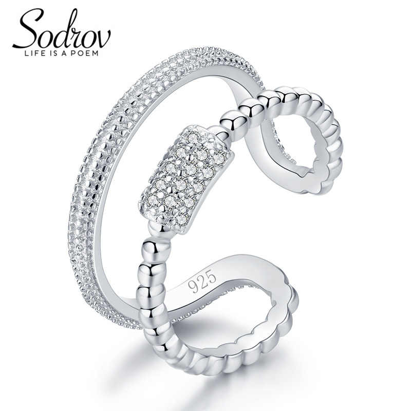 SODROV 925 Sterling Silver Star Burst Rings Open Engagement Jewelry For Women HR037 Personalized
