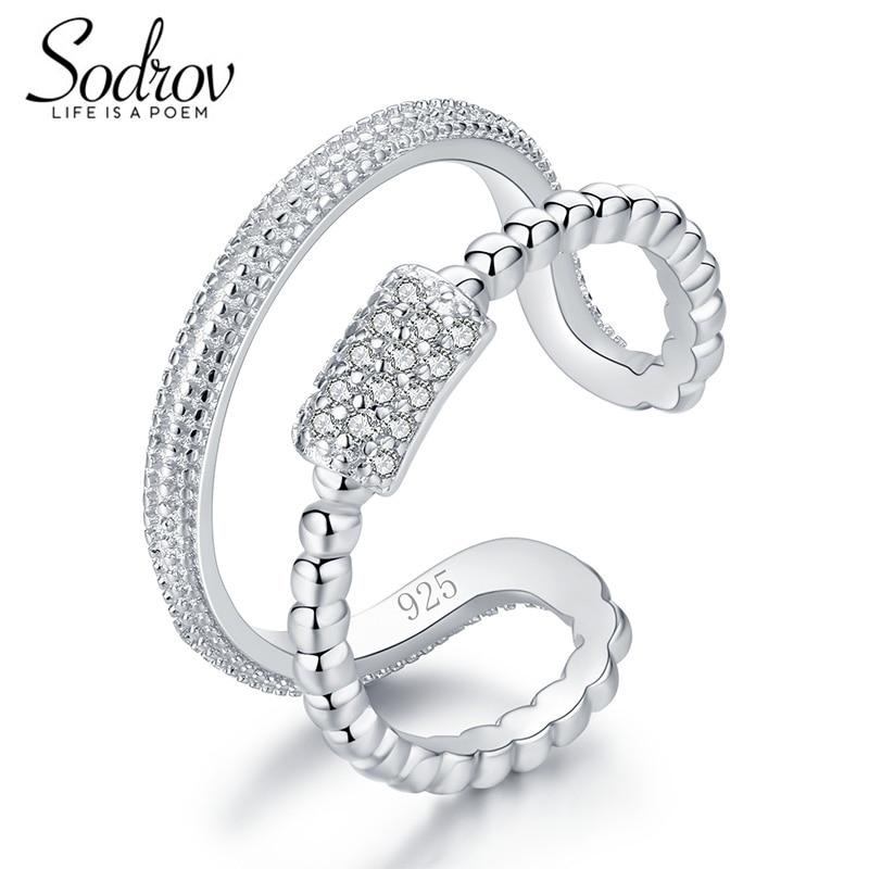SODROV 925 Sterling Silver Star Burst Rings Open Engagement Jewelry For Women HR037