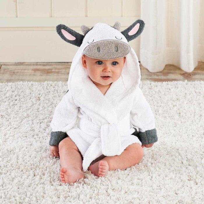 Милый детский банный халат с мышкой пандой, чистый хлопок, купальный Халат с капюшоном, Пляжное банное полотенце, спа-халат с мышкой крысы, пончо для младенцев - Цвет: Cow