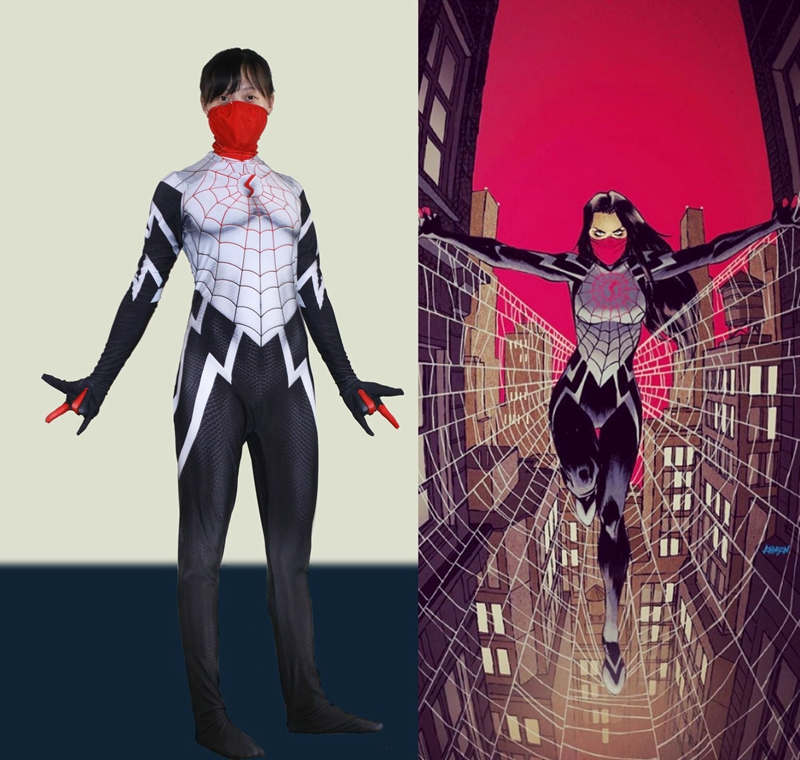 FOGIMOYA Women Girls The Amazing Spider-Man Silk Cindy Moon Cosplay Costume Superhero Zentai Bodysuit Suit Jumpsuits