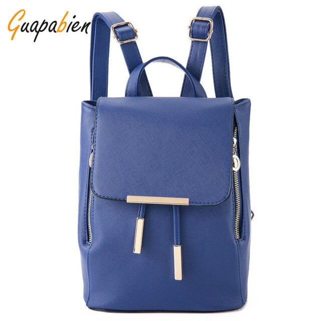 Guapbien PU Leather Women Teenagers Backpack Preppy Schoolbags Girls Top-handle Backpacks Candy Solid Travel Bagpack 5 Colors