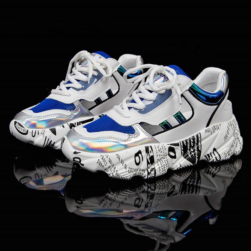 2019 Summer Direct Sales Graffiti Sneakers Women Wedge Yellow Sneakers Casual Shoes Women Sneakers NY-19