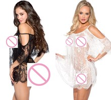 Hot 2017 New Women Sexy Nightwear Black and White Lace Nightgown Sleepwear Dress G-String Lingerie Robe Nightgowns