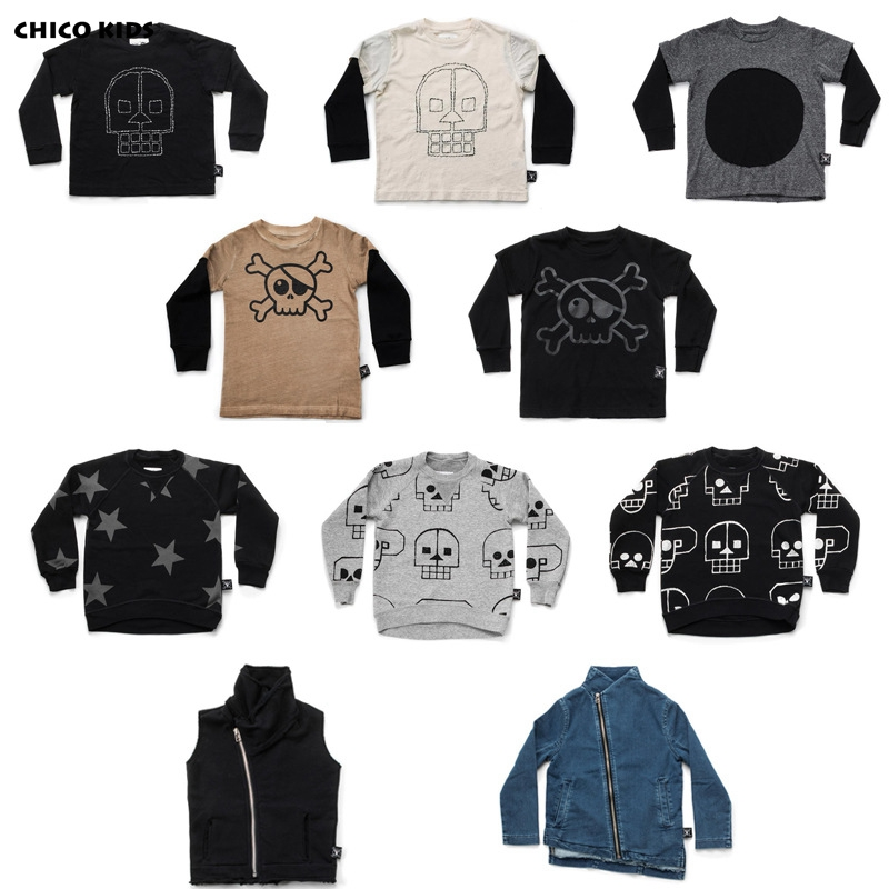 489ad036fc815 2018 Kids Spring Autumn Skull Star Patched Long Sleeve T shirts