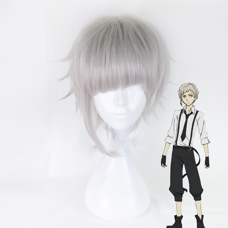 Bungo Stray Dogs Nakajima Atsushi Man Short Straight hair Silver Gray Heat Resistant Anti-wrinkle Cosplay Synthetic Wigs+wig cap