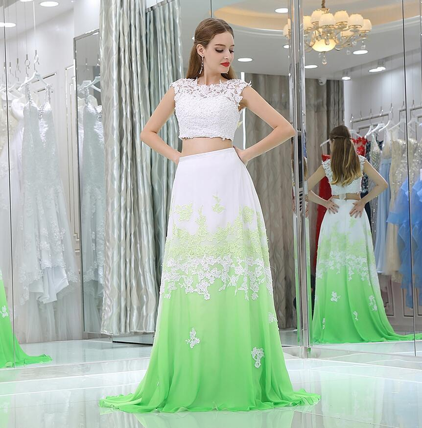 Sexy Two Piece Long   Prom     Dress   Green White Sleeveless Lace Applique Chiffon Party Gown Plus Size Custom Made Vestido Longo 2018