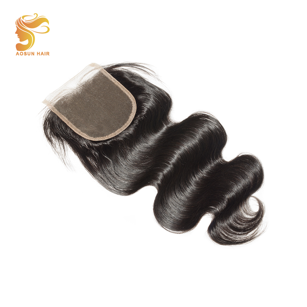 AOSUN HAIR Brazilian Body Wave Hair Bundles with 4*4 Lace Closure Swiss Lace Closure Natural Color 8-20 inches Remy Human Hair