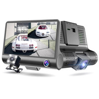 New Original Car DVR Camera Dashcam Full HD 1080P Three Lens 4 inch Video Registrator Recorder Night Vision Dash Cam