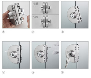 Image 5 - 1 セットダブルオープンガラスドアロックステンレス鋼ダブルボルトスライディングドアロック 10 12 ミリメートルオフィスガラス安全