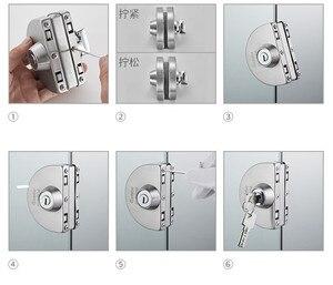 Image 5 - 1 סט כפול פתוח זכוכית מנעול דלת נירוסטה כפול בורג הזזה דלת מנעול 10 12mm משרד זכוכית בטיחות