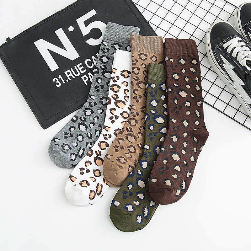 Warm Leopard Ankle Socks Print Winter Fall For Women Men Ladies Gifts Korean Cotton Punk Personalized Sock Creative Accessories