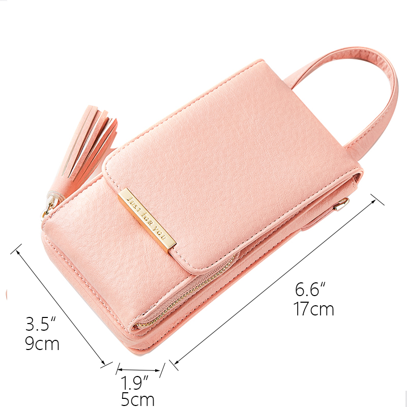 Mini Women Metal Chain Crossbody Bag Long Female Tassels Design Wallet Candy Color Girl's Cell Phone Holder Cards Pocket Clutch 3