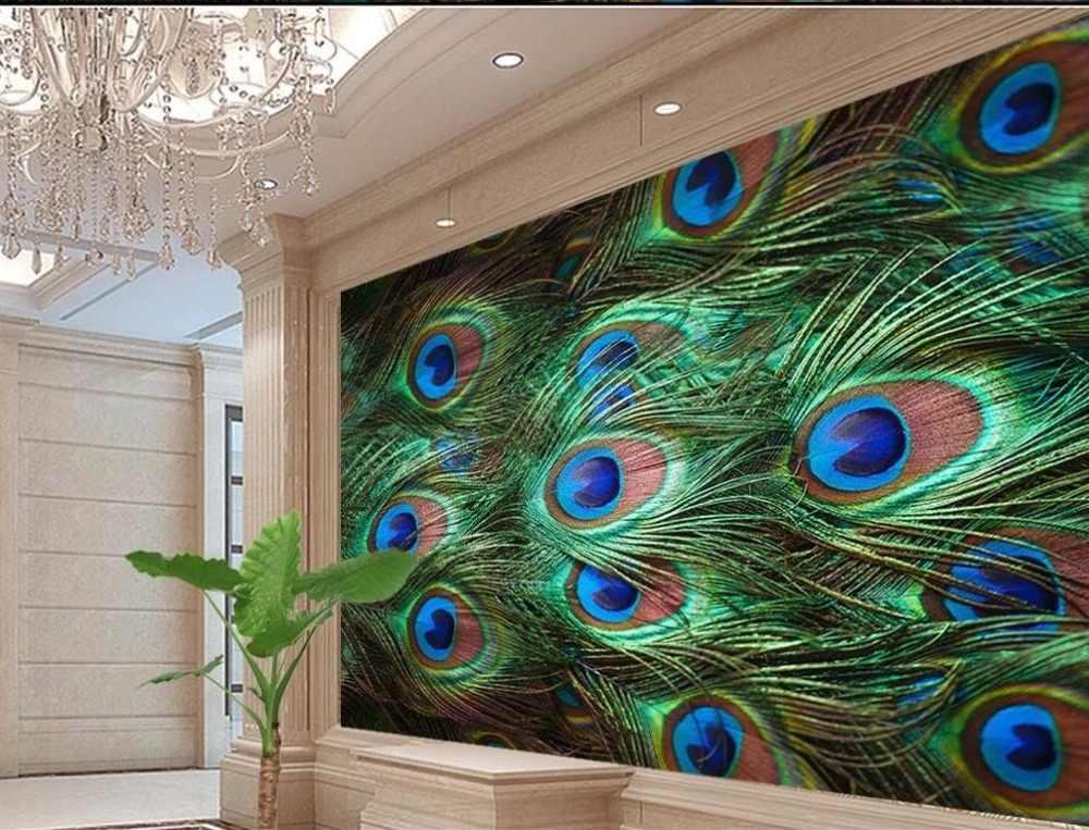 Bulu merak kesederhanaan closeup foto dinding mural wallpaper kustom 3d wallpaper 3d wallpaper disesuaikan