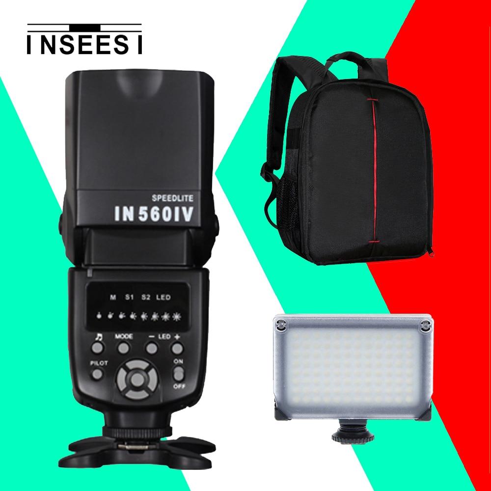 INSEESI IN560IV Universal Wireless Flash Speedlite IN560-IV+INSEESI IN-T99 Portable LED Video Light+DSLR Camera Backpack+Gift