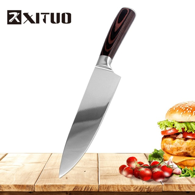 XITUO Kitchen Knife 7CR17 Mirror Light Blades Stainless Steel Kitchen Knives Chef Knife Sets santoku Utility Bread Cooking Tool