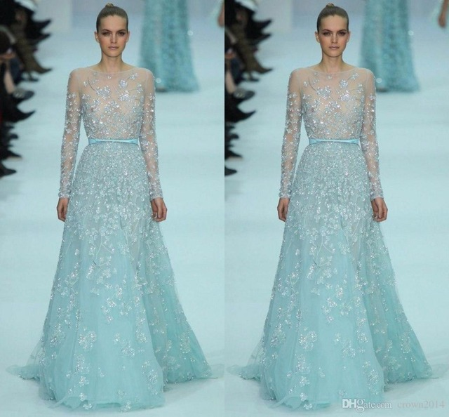 5f08e1a8c87 New Fashion Ice Blue Elie Saab Couture Evening Dresses Long Sleeve Lace  Applique See Through forma Prom Dress vestido longo