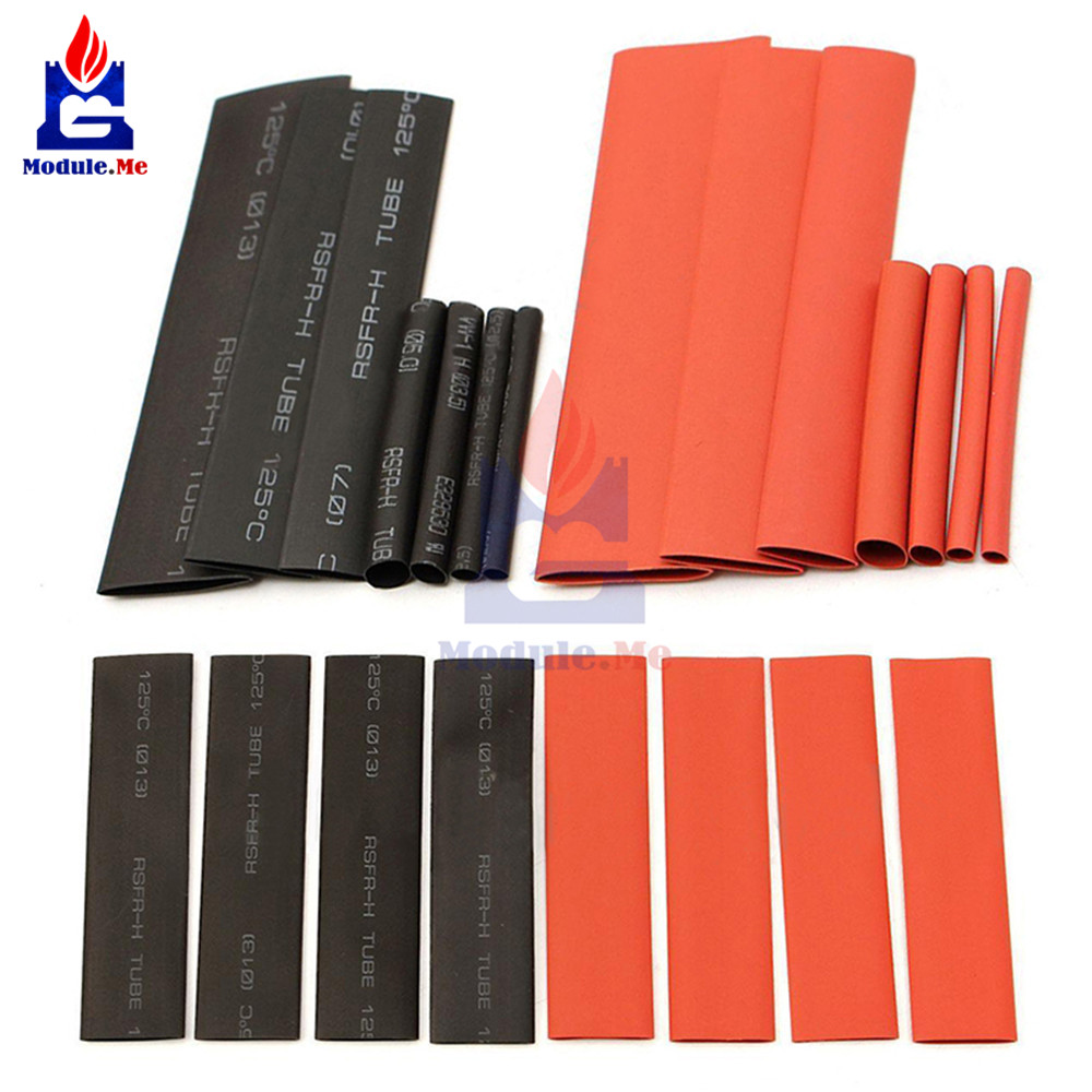127pcs Red Black Polyolefin Heat Shrink Tubing Cable Tube Sleeving Kit Wrap Wire Set PE Heat Shrink Tubing Set Cable Sleeves