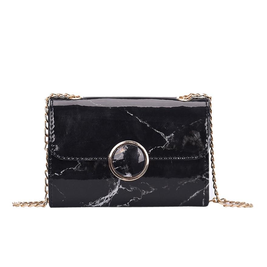 Women Girl Fashion Flap Bag Thread Crossbody Bag Ladies Pretty Hasp Shoulder Bag Brand New Marble Patent Leather messenger bag S
