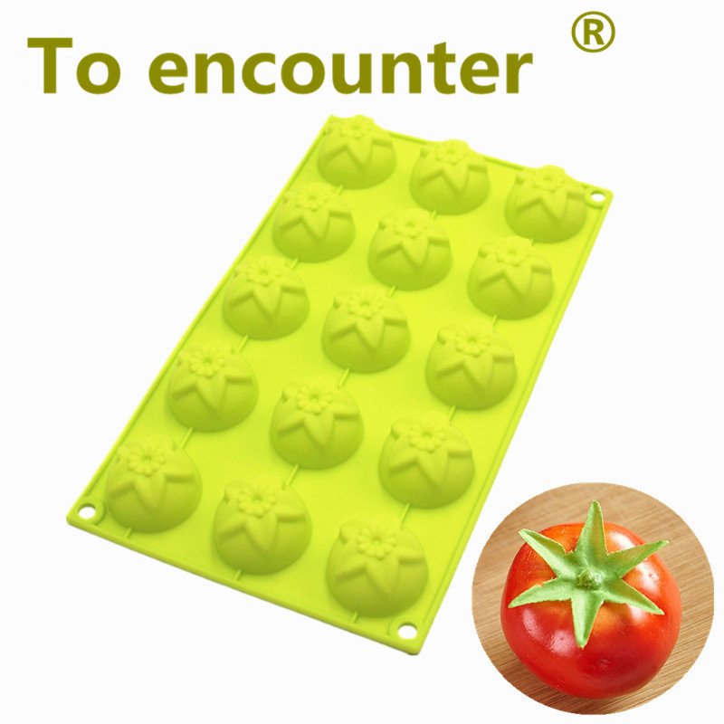 To encounter 15 hol Tomato Cake Moulds Silicone Chocolate Mold Jelly Pans Pastry Silicone Muffin Cupcake Pans kitchen DIY tools