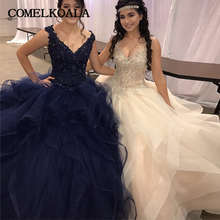COMELKOALA Puffy Quincenera Ball Gown Sexy V Neck 15 Dress