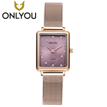 ONLYOU Luxury Diamond Mesh Belt Women Watch Differernt Style Fashion Wristwatch Ladies Simple Square Leather Quartz Clock