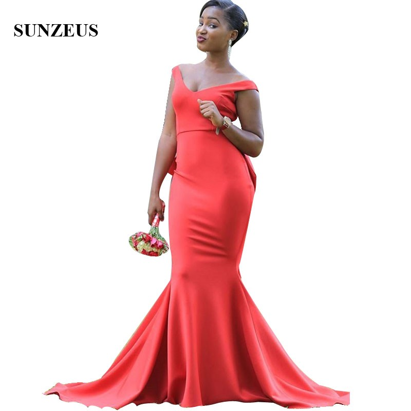 Long Red Mermaid   Bridesmaid     Dresses   For Wedding Mermaid V-neck Off Shoulder African Party Gowns For   Bridesmaids